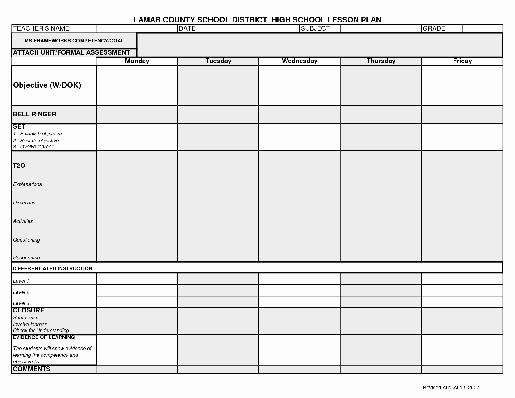 College Lesson Plan Templates Unique Lcsd High School Lesson Plan Template