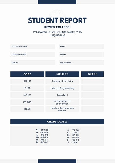 College Report Card Template Inspirational Customize 134 College Report Card Templates Online Canva