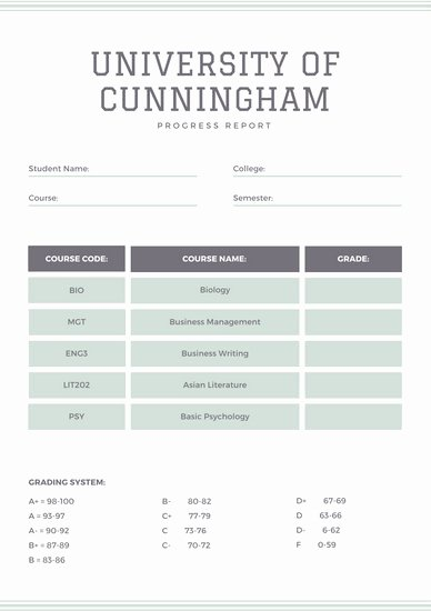 College Report Card Template Lovely Blue College Report Card Templates by Canva