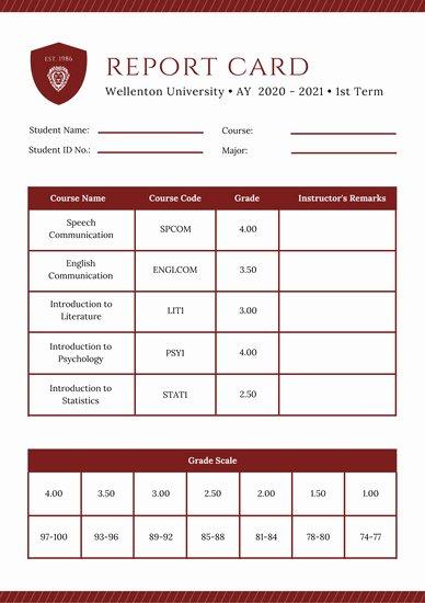 College Report Card Template Luxury Customize 134 College Report Card Templates Online Canva