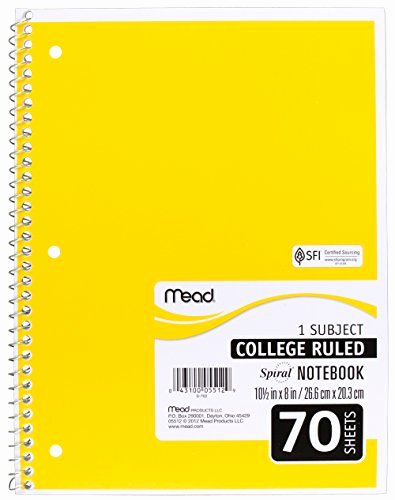 College Rule Notebook Paper Best Of Mead Spiral Notebooks 1 Subject College Ruled Paper 70 Import It All
