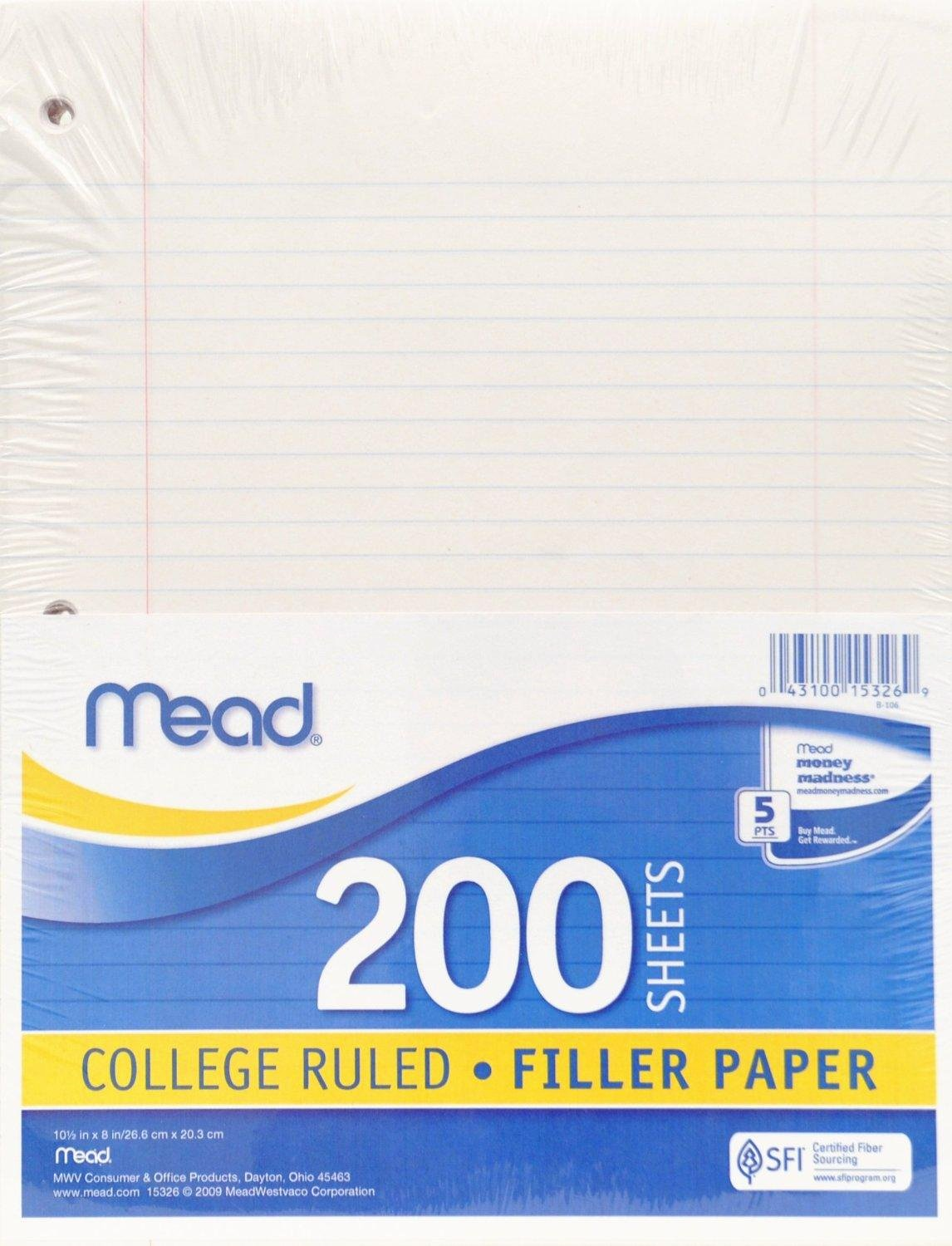 College Rule Notebook Paper Inspirational Amazon Mead Filler Paper Loose Leaf Paper College Ruled 200 Sheets Pack
