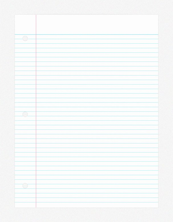 College Ruled Notebook Paper New College Ruled Paper