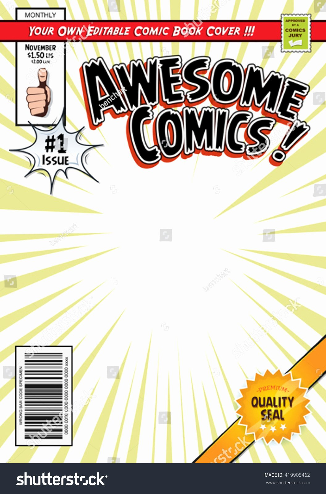 Comic Book Cover Template Fresh Ic Book Cover Template Illustration Cartoon Editable Stock Vector Shutterstock