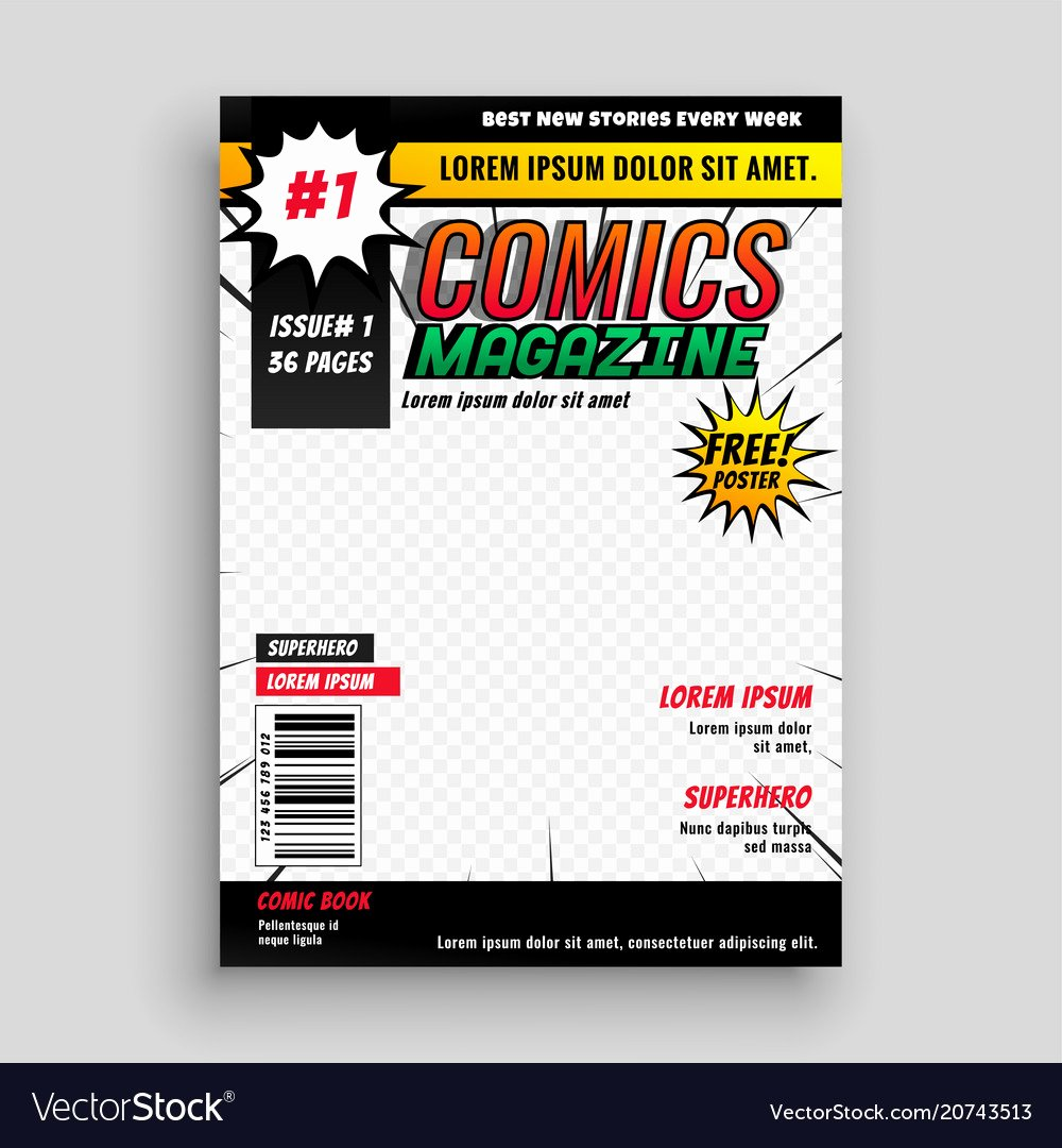 Comic Book Cover Template Luxury Ic Magazine Book Cover Template Design Vector Image