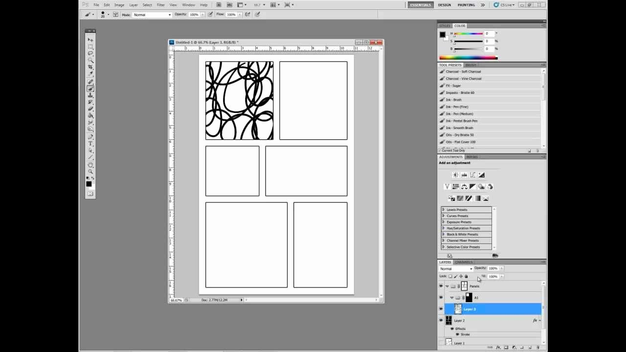 Comic Book Template Photoshop Awesome Digital Ics In Adobe Shop Part I Setting Up Panels