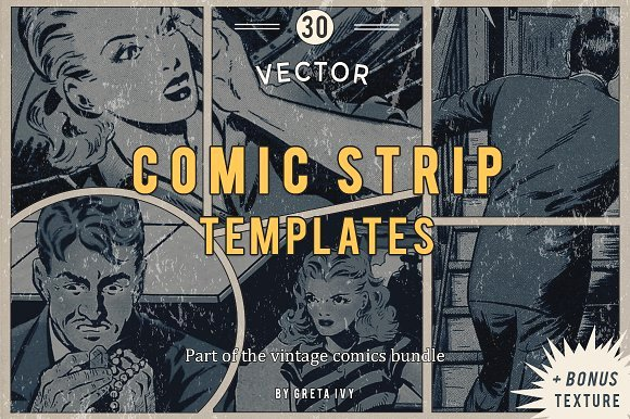 Comic Strip Template Word New Vector Ic Strip Templates Objects Creative Market