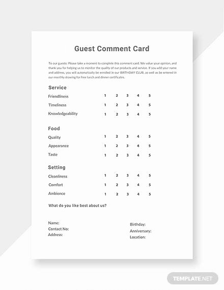 Comment Card Template Word New Free 10 Ment Cards In Illustrator Ms Word Pages Shop Publisher
