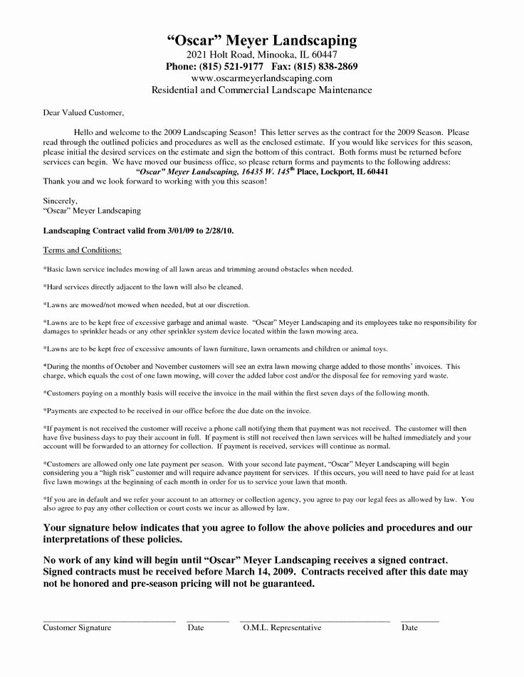 Commercial Landscape Maintenance Contract Template Awesome 25 Unique Contract Agreement Ideas On Pinterest