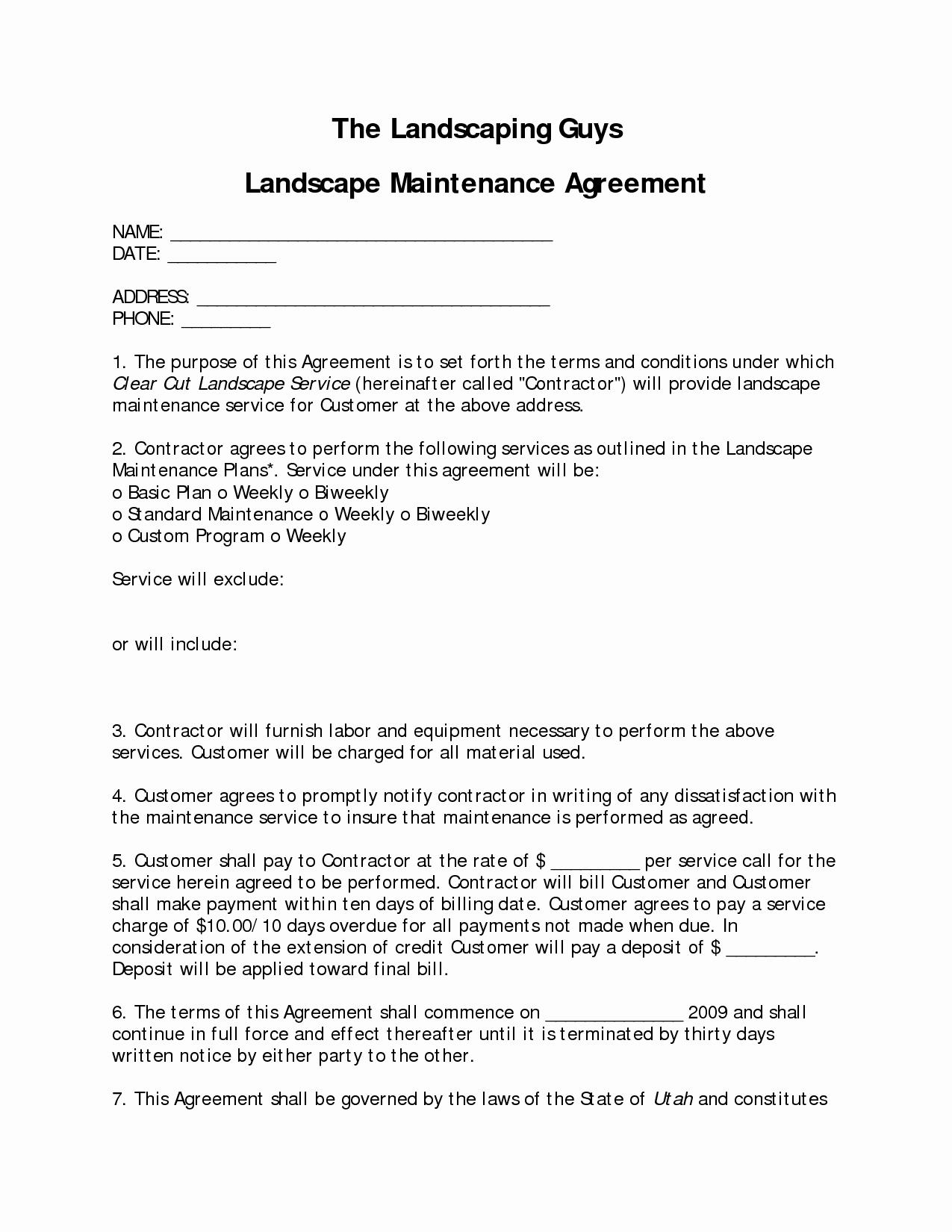 Commercial Landscape Maintenance Contract Template Fresh Marvelous Landscape Contract 9 Landscape Maintenance Contract Template