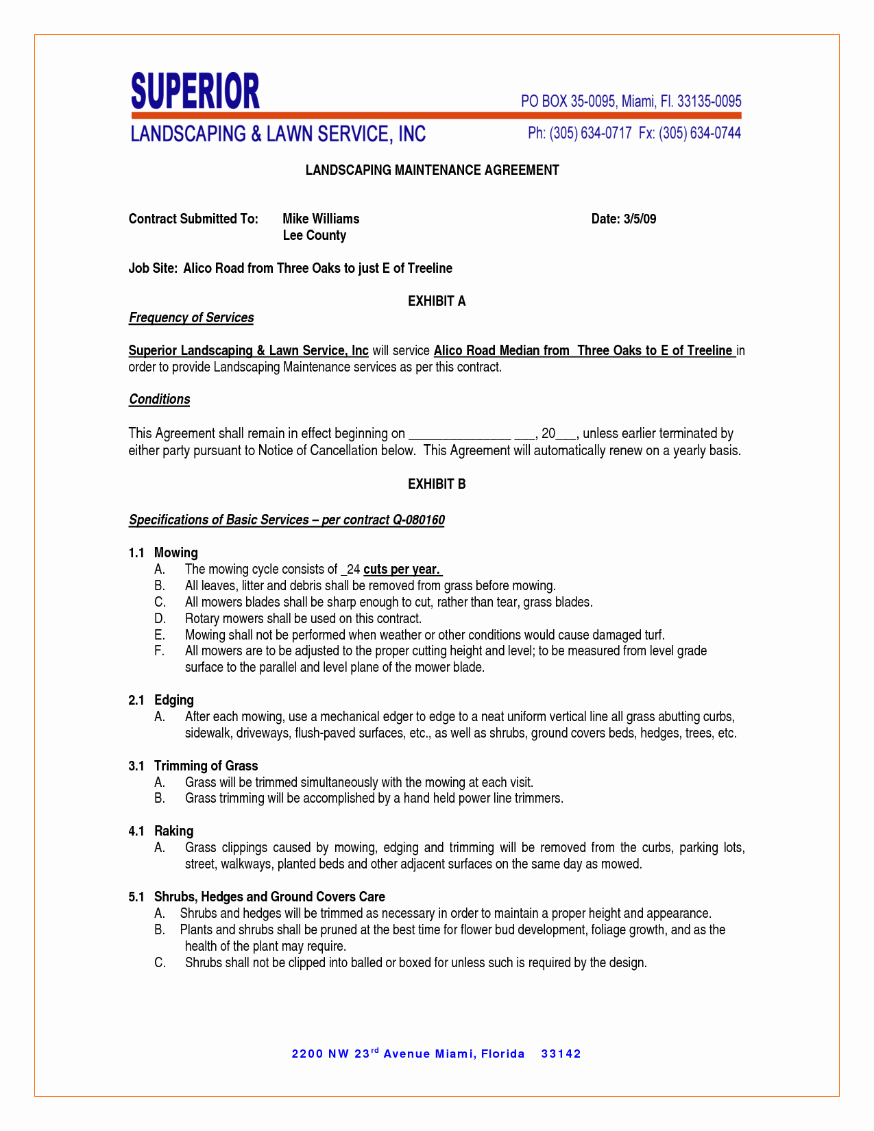 Commercial Landscape Maintenance Contract Template Inspirational Maintenance Contract Agreement Free Printable Documents