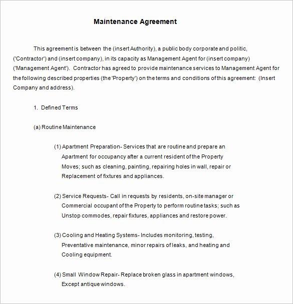 Commercial Landscape Maintenance Contract Template New 13 Maintenance Contract Templates Free Word Pdf Documents Download
