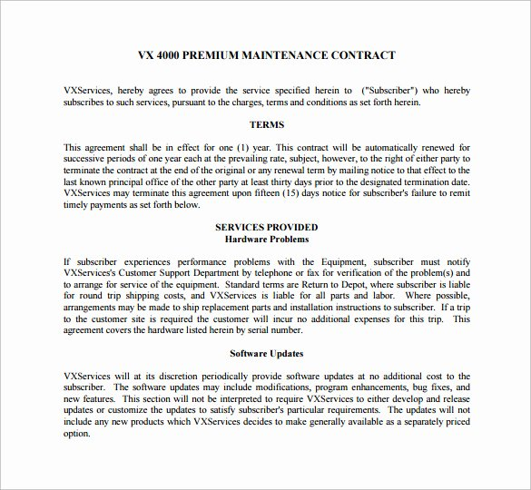 Commercial Landscape Maintenance Contract Template Unique Maintenance Contract Template 20 Download Documents In Pdf Word Google Docs