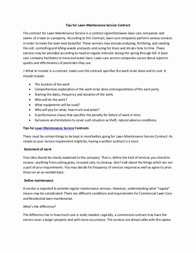 Commercial Landscape Maintenance Contract Template Unique Tips for Lawn Maintenance Service Contract
