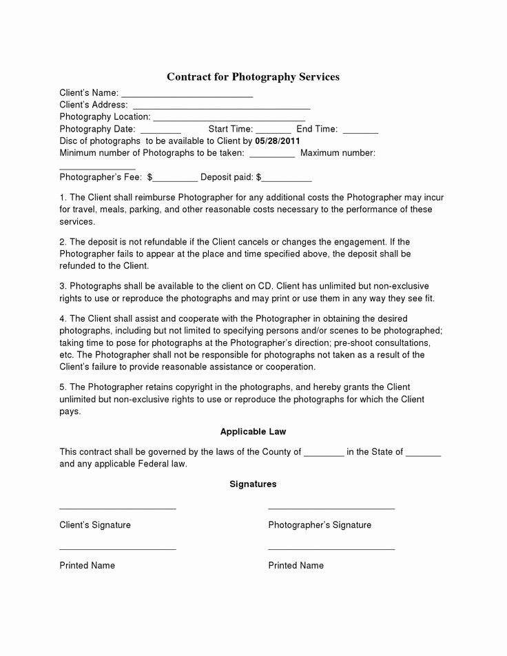Commercial Photography Contract Template Best Of Free Printable Wedding Graphy Contract Template form Generic