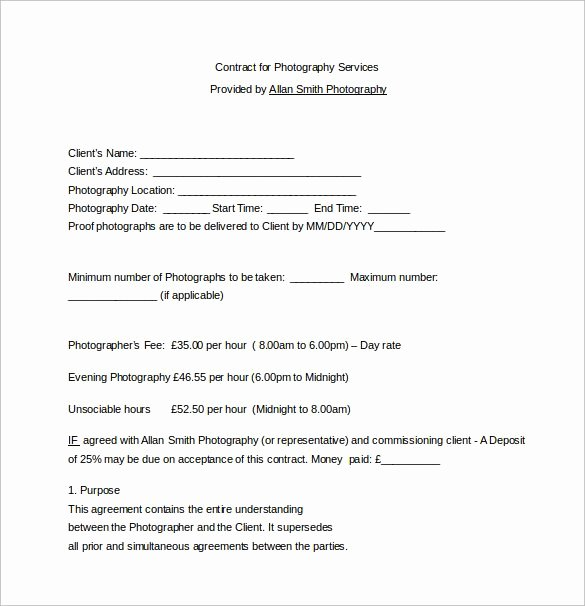 Commercial Photography Contract Template Fresh Contract for Graphy Services Word Free Download Graphy