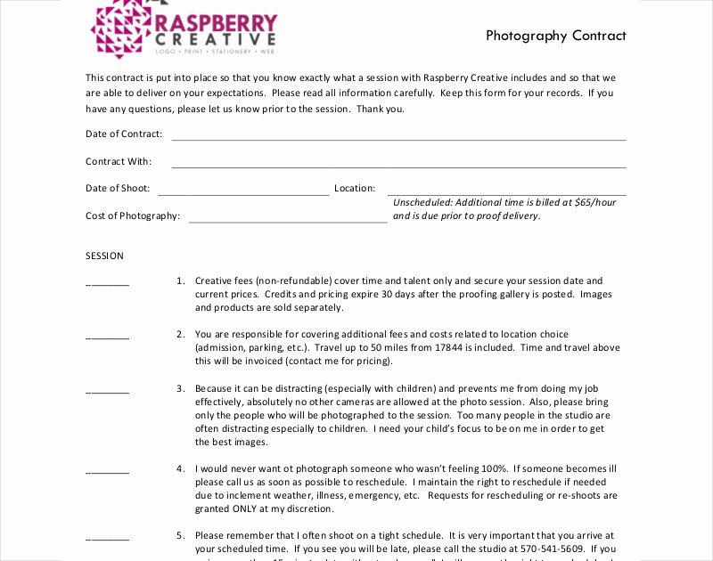 Commercial Photography Contract Template Luxury 12 Graphy Contract Examples & Samples Pdf Doc
