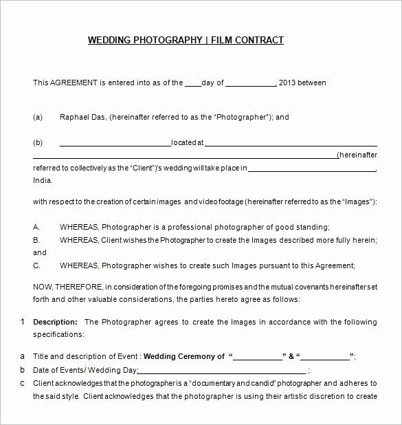 Commercial Photography Contract Template New Wedding Grapher Contract