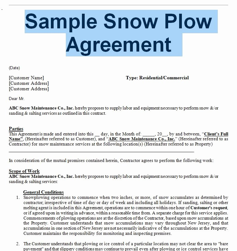 Commercial Snow Plowing Contracts Best Of Snow Removal Agreement and Contract