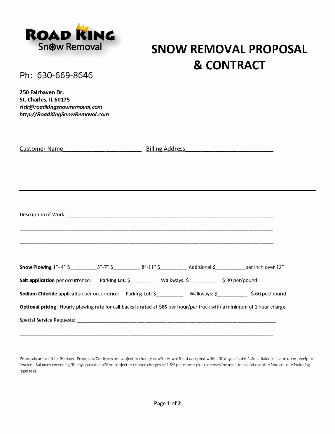 snow removal proposal template
