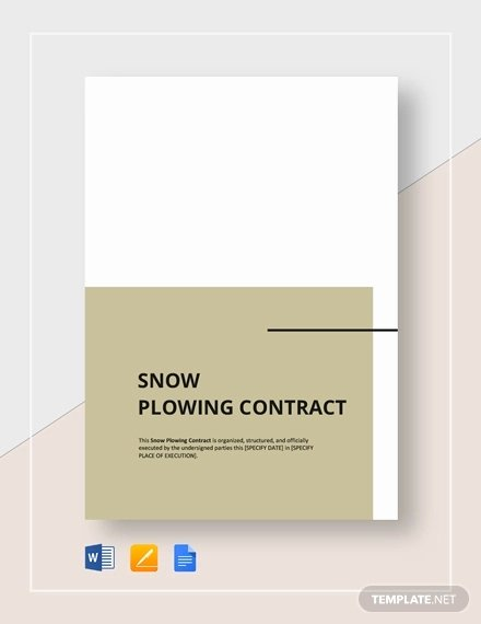 Commercial Snow Removal Contract Elegant 19 Snow Plowing Contract Templates Doc Pdf