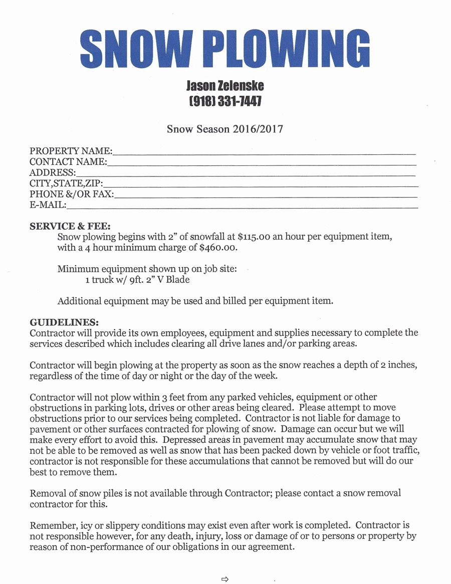 Commercial Snow Removal Contract New Snow Removal Contract Template 1721