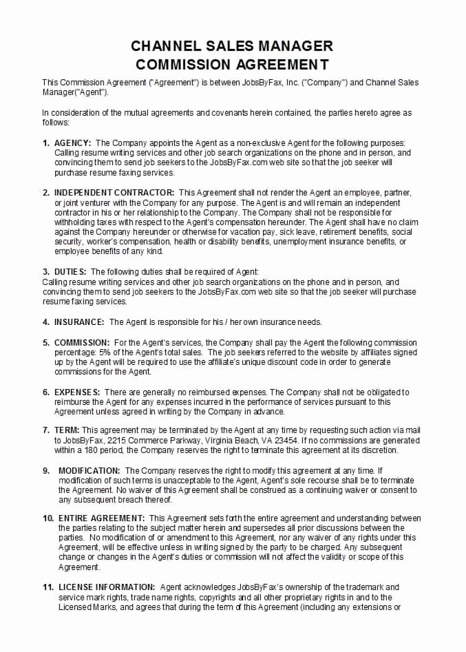 Commission Split Agreement Template Awesome 36 Free Mission Agreements Sales Real Estate Contractor
