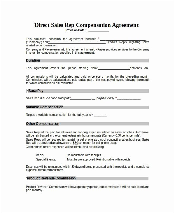 Commission Split Agreement Template Best Of 5 Sales Pensation Models and Plans Examples