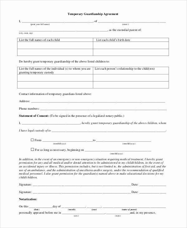 Commission Split Agreement Template Inspirational Temporary Guardianship Agreement form
