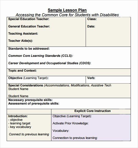 Common Core Lesson Plan Template Fresh Free 7 Sample Mon Core Lesson Plan Templates In Google