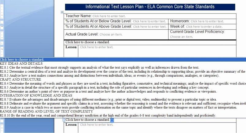 Common Core Lesson Plan Template Fresh Mon Core Lesson Plan Templates Ccss123