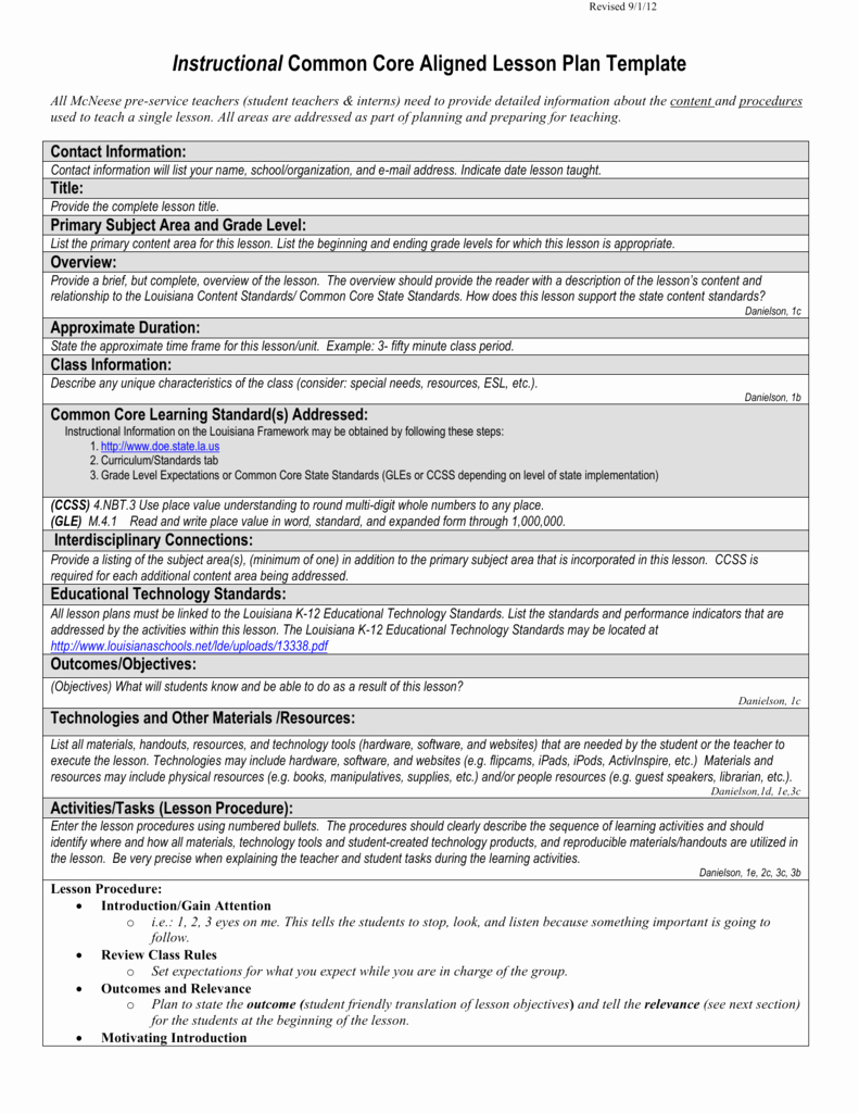 Common Core Lesson Plan Template Inspirational Instructional Mon Core Aligned Lesson Plan Template