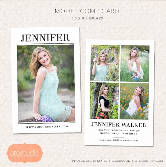 Comp Card Templates Free Elegant Model P Card Shop Template Simple Chic Cm004