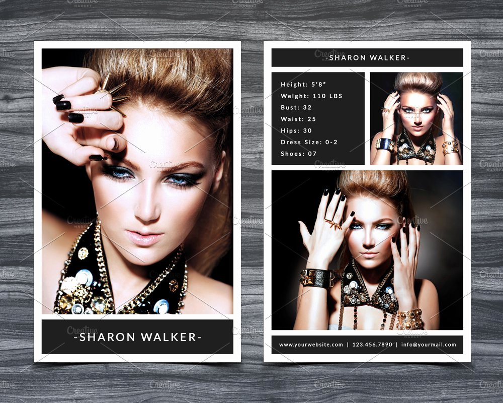 Comp Card Templates Free Luxury Model P Card Template Card Templates Creative Market