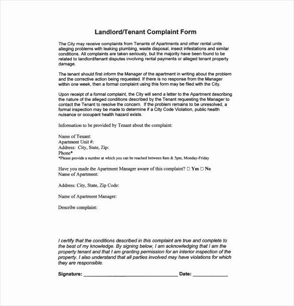 Complaint Letter to Landlord Awesome 14 Plaint Letter to Landlord Free Sample Example