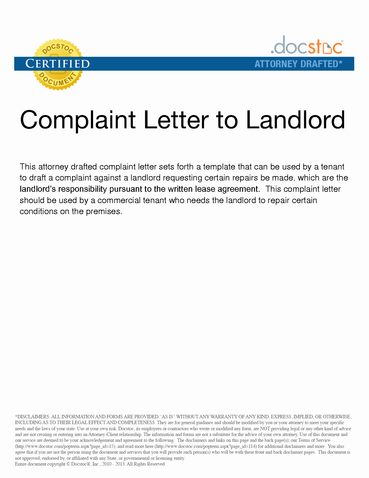 Complaint Letter to Landlord Fresh Landlord Plaint Letter Free Printable Documents