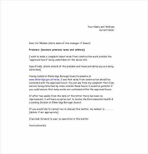 Complaint Letters to Landlord Beautiful Noise Plaint Letter Template – 8 Free Word Pdf Documents Download
