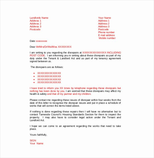 Complaint Letters to Landlord Fresh Plaint Letter to Landlord – 8 Free Word Pdf Documents Download