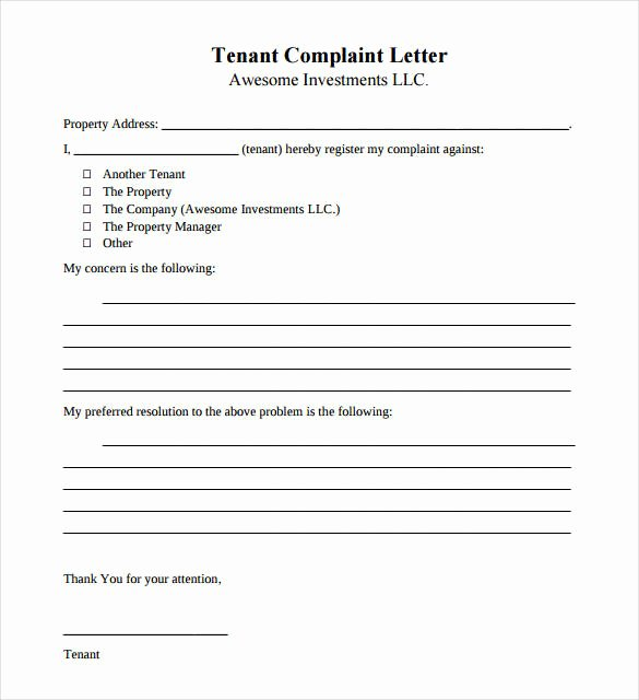 Complaint Letters to Landlord Inspirational 11 Tenant Plaint Letters – Pdf Doc Apple Pages