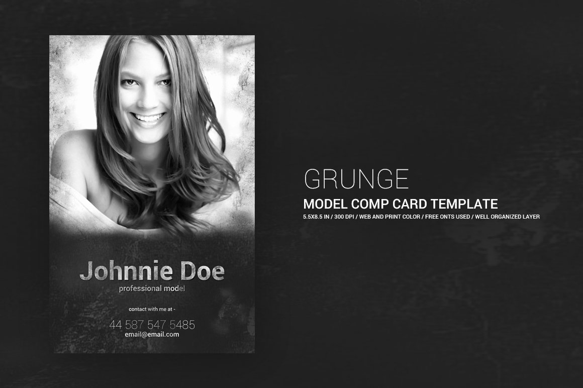 Composite Card Template Free Luxury Grunge Model P Card 5 5x8 5 Templates Creative Market
