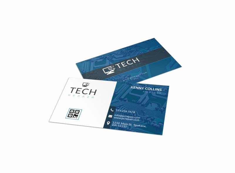 Computer Repair Business Cards Fresh Blue Puter Repair Business Card Template