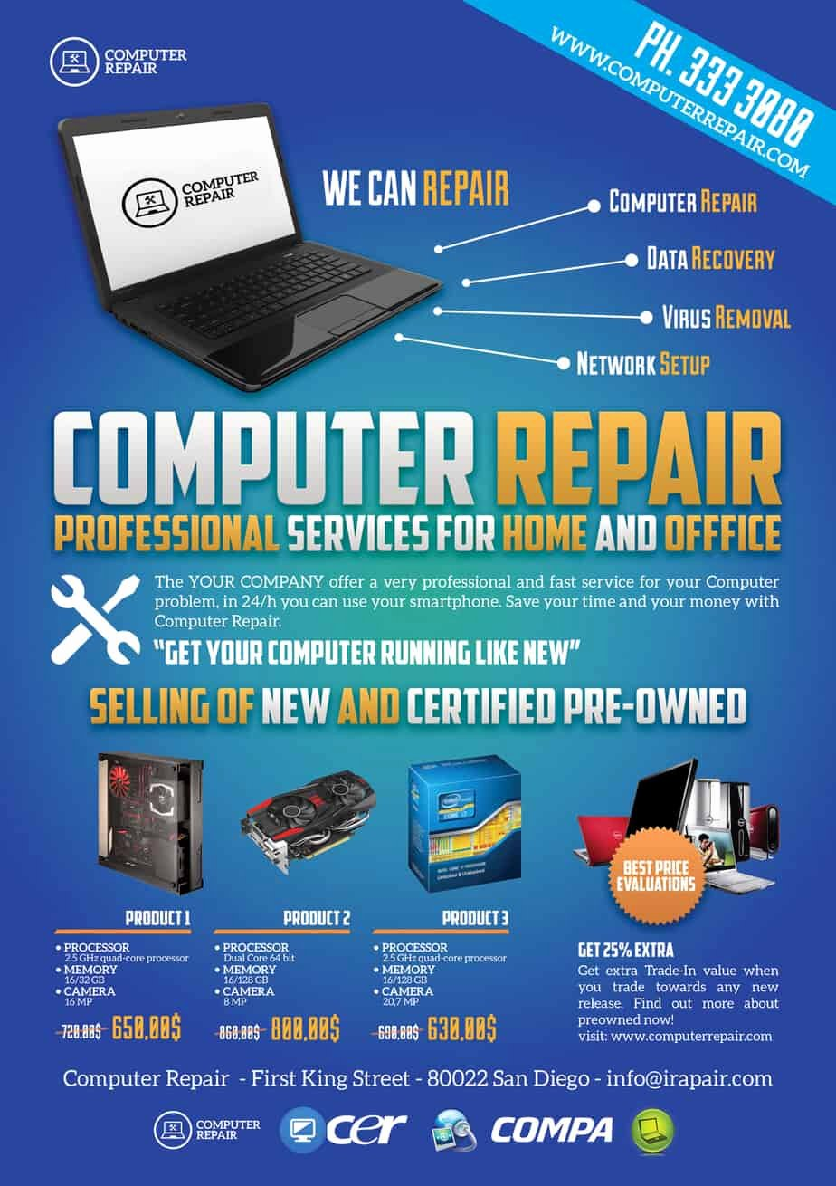 Computer Repair Flyer Template Beautiful Puter Repair Flyers Word Excel Samples