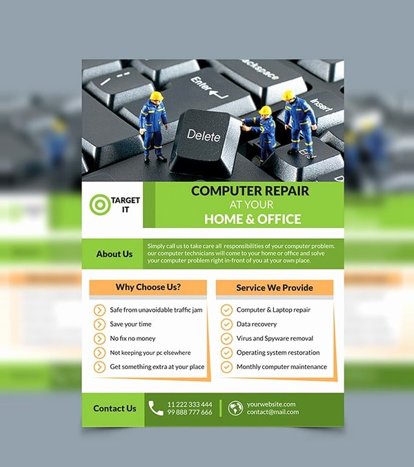 Computer Repair Flyer Template Elegant Free Flyer Templates Psd From 2016 Css Author
