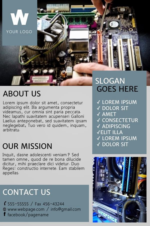 Computer Repair Flyer Template Lovely Puter Repair Shop Advertisement Poster Small Business Flyer Templates