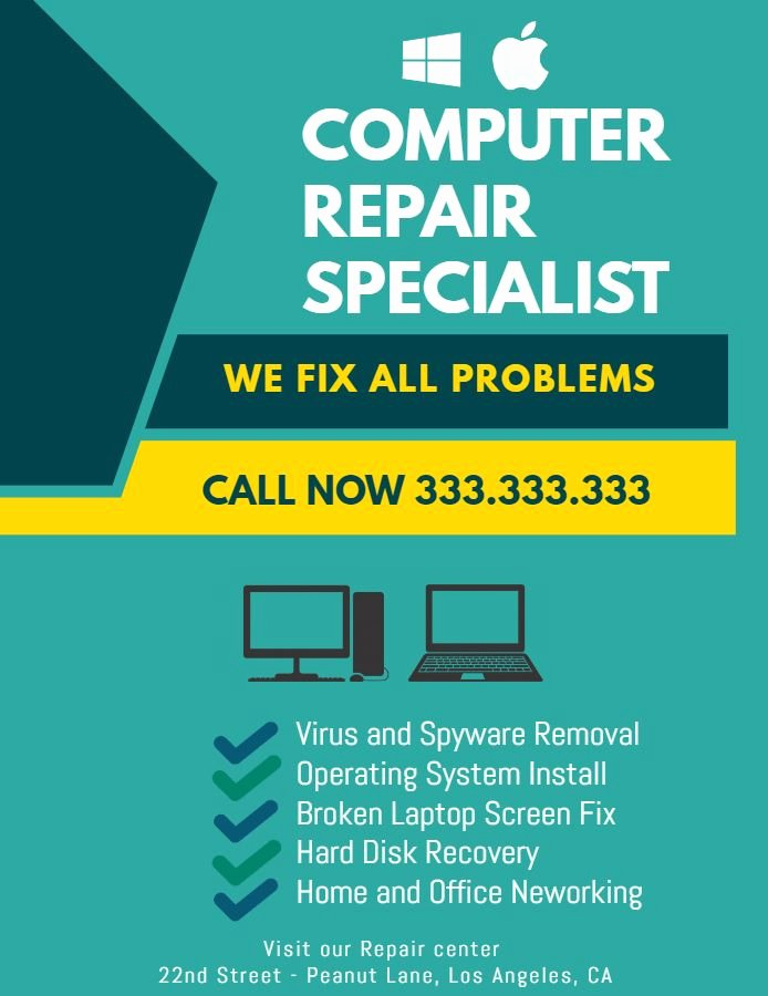 Computer Repair Flyer Template New Puter Repair Flyer Design Free Samples Phone Repair Flyer Templates