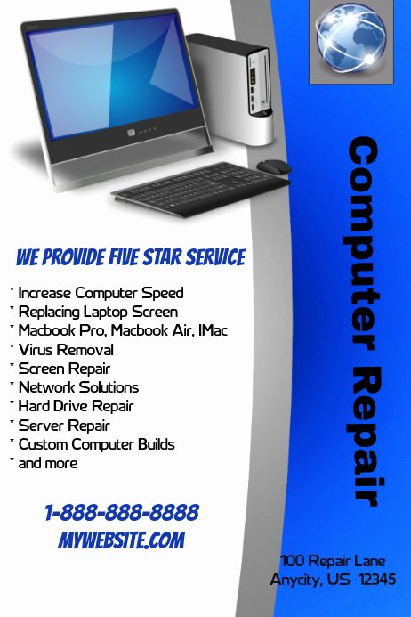 Computer Repair Flyer Template New Puter Repair Shop Template