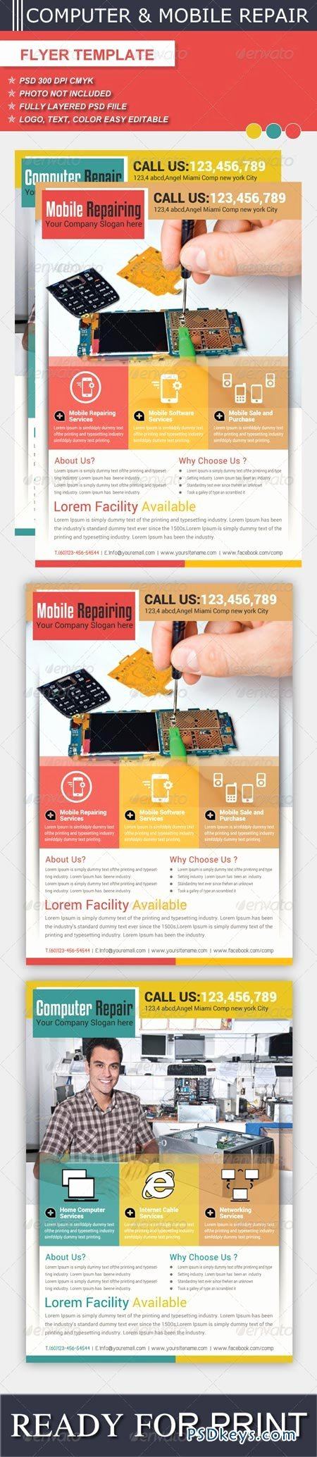 Computer Repair Flyer Templates Awesome Puter & Mobile Repair Flyer Template Free Download Shop Vector Stock Image Via