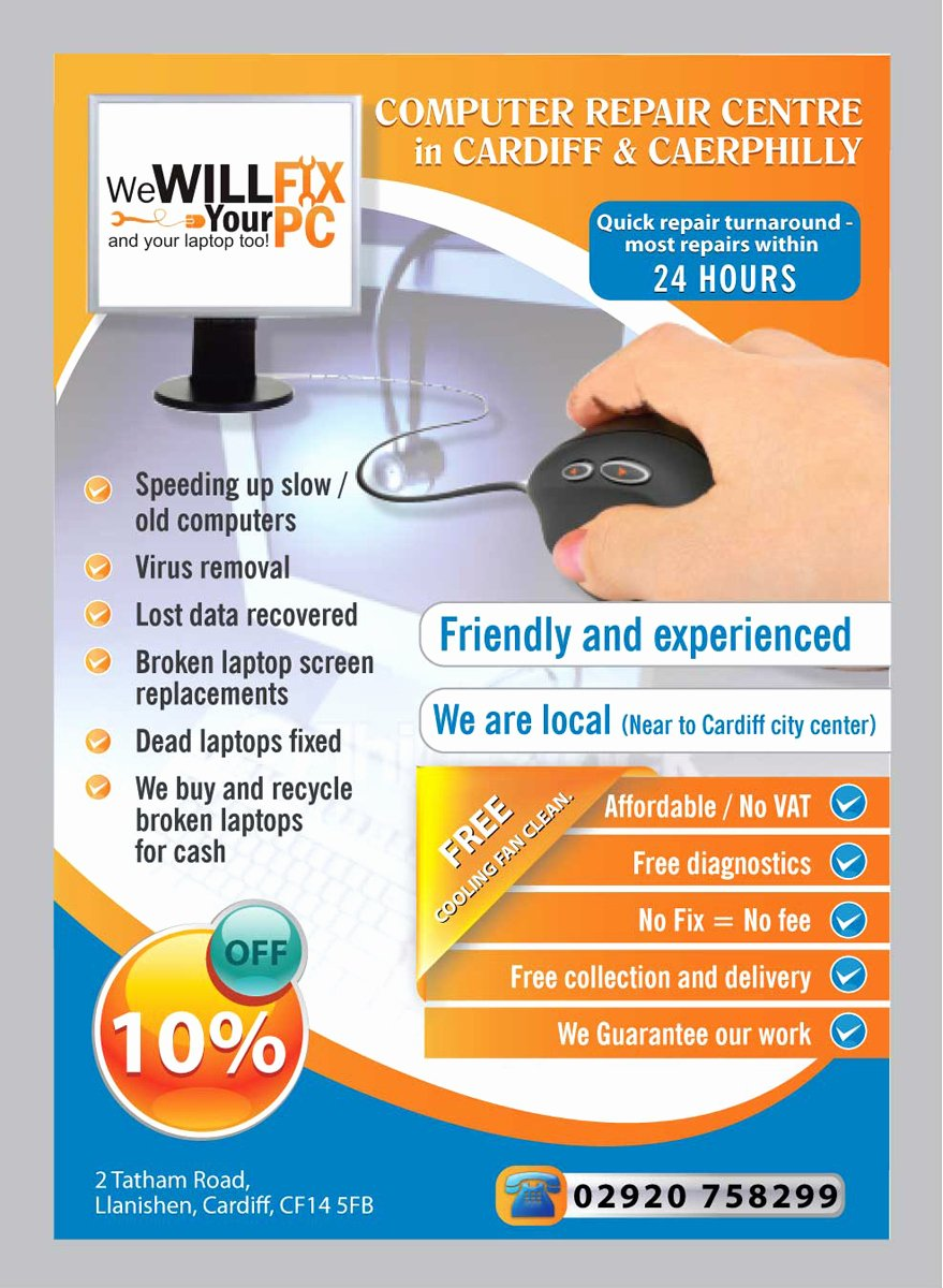 Computer Repair Flyer Templates Fresh Bold Modern Flyer Design Design for We Will Fix Your Pc A Pany In United Kingdom
