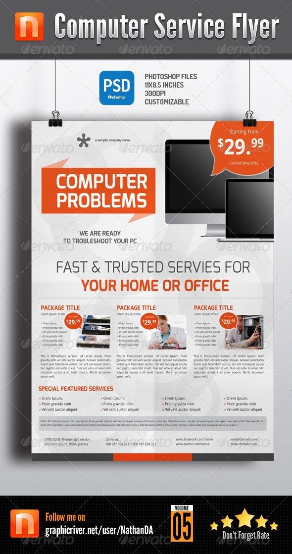 Computer Repair Flyer Templates Inspirational Puter Service Flyer V5 Flyer Templates