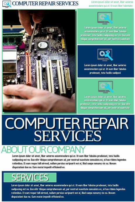 Computer Repair Flyers Templates Beautiful Puter Repair Services Template